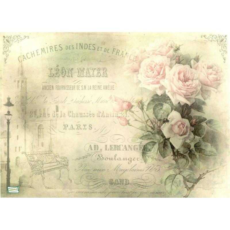 Papier de riz pour decoupage Paris fleurs