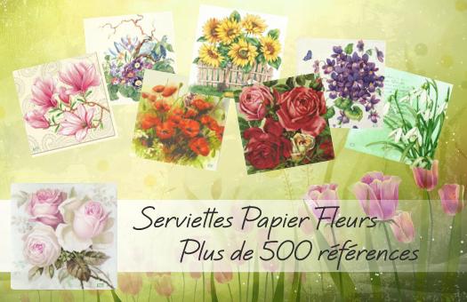 Un choix parmi plus de 500 références de serviettes papier Fleurs !