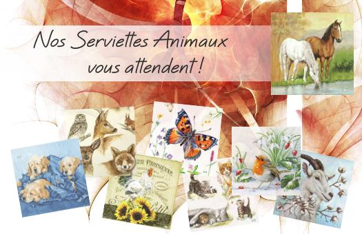 Nos serviettes papier Animaux vous attendent !